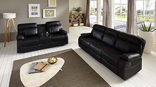 SAM® 2 tlg Sofa Garnitur Emanuel Couchgarnitur 3 Sitzer und 2 Sitzer in schwarz mit SAM®-Lederimitat