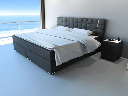 SAM® Design Boxspringbett Berlin mit Neo Stoff®-Bezug in anthrazit, LED-Beleuchtung, Bonellfederkern-Matratze und Nosag-Unterfederung, 180 x 200 cm