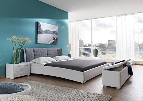 SAM® Design Polsterbett Bastia 160 x 200 cm in weiß grau Kopfteil abgesteppt auch als Wasserbett verwendbar