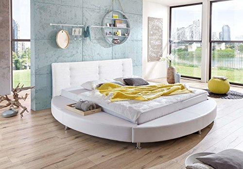 sam design rundbett bastia bett in wei kopfteil abgesteppt mit chromf en auch als. Black Bedroom Furniture Sets. Home Design Ideas