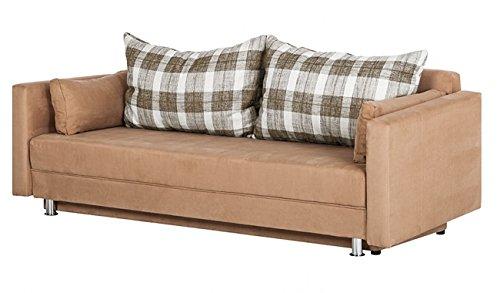 SAM® Design Schlafsofa Karol, ca. 220 x 90 cm, Stoffbezug beige, 2 x Rückenkissen + 2 x Seitenkissen, Füße in Edelstahloptik, modern, umbaubar, angenehmer Sitz - und Liegekomfort
