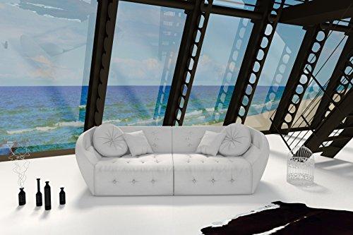 SAM® Design Sofa Shel in weiß Couch inklusive 4 Kissen abgesteppte Oberfläche mit Ziersteinen