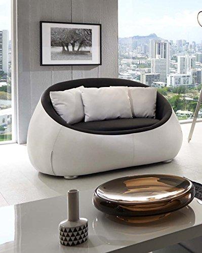 SAM® Design Sofa schwarz - weiß Couch Rondo 2 Sitzer Kissen inklusive rund pflegeleichte Oberfläche