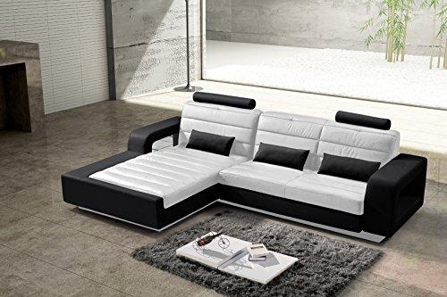 SAM® Ecksofa weiß/schwarz – links 310 x 188 cm, Ottomane mit SAM®-Lederimitat, futuristisches Design [521310]