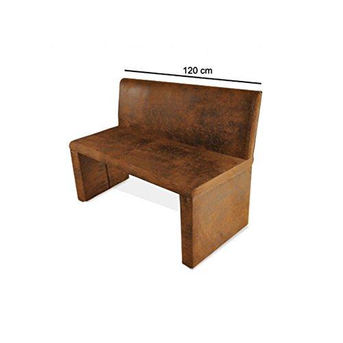 SAM® Esszimmer Sitzbank Family Wilson in brauner Wildlederoptik, 120 cm Breite, Sitzbank mit pflegeleichtem SAMOLUX® Bezug, angenehmer Sitzkomfort, frei im Raum aufstellbare Bank mit Rückenlehne