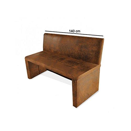 SAM® Esszimmer Sitzbank Family Wilson in brauner Wildlederoptik, 140 cm Breite, Sitzbank mit pflegeleichtem SAMOLUX® Bezug, angenehmer Sitzkomfort, frei im Raum aufstellbare Bank mit Rückenlehne