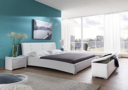 SAM® Polsterbett 120x200 cm Bastia, weiß, Bett mit gepolstertem, hohen Kopfteil, Chrom-Füße, als Wasserbett verwendbar