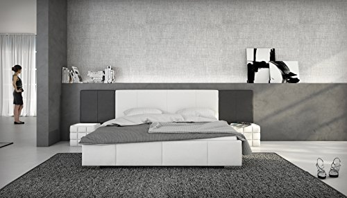 sam polsterbett 180x200 cm natal wei schwarz bett aus kunstleder abgesteppte fu und. Black Bedroom Furniture Sets. Home Design Ideas