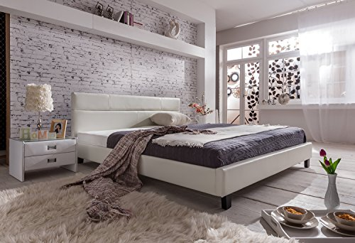 sam polsterbett 180x200 cm pellisima wei kopfteil im abgesteppten design bett mit schwarzen. Black Bedroom Furniture Sets. Home Design Ideas