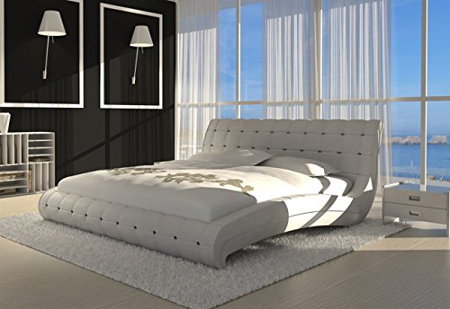 sam polsterbett bett vederi in wei 200 x 200 cm kopfteil. Black Bedroom Furniture Sets. Home Design Ideas