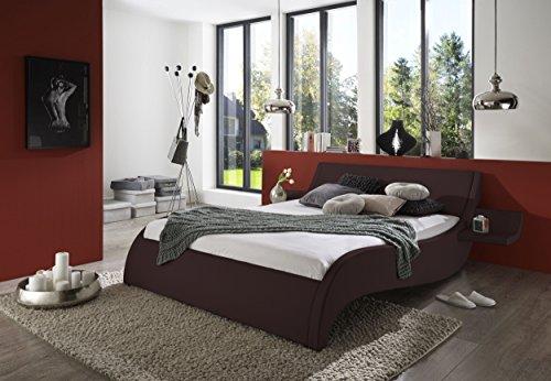 SAM Polsterbett Macao, Bett aus Kunstleder, geschwungenes Kopf- und Seitenteil, inkl. zwei Nachttischablagen