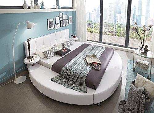 SAM® Polsterbett Rundbett Zarah in weiß, 4 verschiedenen Größen, integrierte Nachttische im runden Design, modernes Bett mit chrom-farbenen Füßen, Kopfteil abgesteppt, als Wasserbett verwendbar