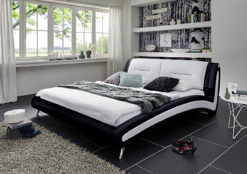 SAM® Polsterbett Silva in schwarz weiß 180 x 200 cm, Chrom farbene Füße, Kopfteil gepolstert, geschwungene Seitenteile, modernes Design, Wasserbett geeignet