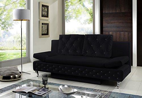 SAM® Schlafsofa Roxy in schwarz inklusiv 2 Sofakissen 3-fach verstellbar Chrom farbene Füße Kissen im abgesteppten Design Ziersteine