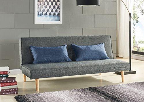 Schlafsofa Sofabett Couch Bett Grau mit 2 Blaue Kissen