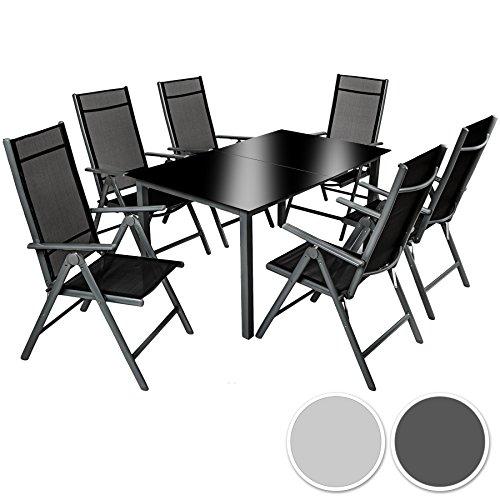 TecTake Aluminium Sitzgarnitur 6+1 Sitzgruppe Gartenmöbel Tisch & Stuhl Set - diverse Farben -
