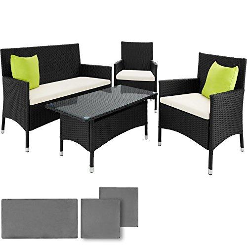TecTake Hochwertige POLY Rattan Aluminium Gartenmöbel Gartengarnitur Gartenset Sitzgruppe + 2 Bezugsets + 2 Kissen mit Edelstahlschrauben