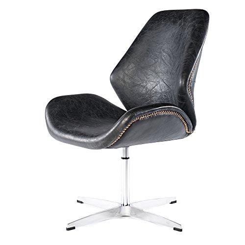 Vintage Drehsessel Retro Ledersessel Schwarz Design Leder Sessel Loft Clubsessel 667