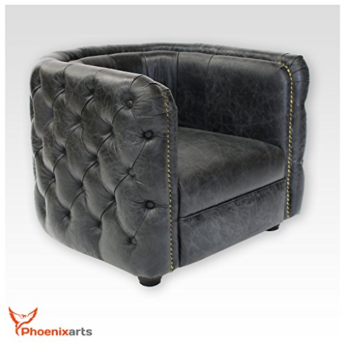 Vintage echtleder chesterfield ledersessel schwarz design for Design club sessel