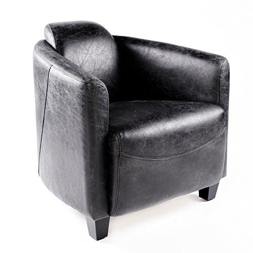 Vintage Ledersessel Schwarz Echtleder Sessel Design Lounge Clubsessel Sofa 643