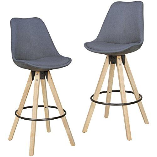 WOHNLING 2er Set Barhocker Retro Design Stoff Holz mit Rücken-Lehne | Design Barstuhl Retro Skandinavisch 2 Stück | Tresenhocker Sitzhöhe 72 cm