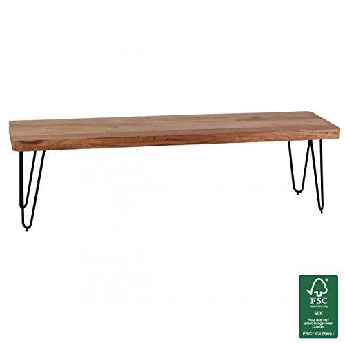 WOHNLING Esszimmer Sitzbank Massiv-Holz Akazie 160 x 45 x 40 cm Design Holz-Bank Natur-Produkt Küchenbank Landhaus-Stil dunkel-braun Bank 3-Sitzer für innen ohne Rücken-Lehne Echt-Holz unbehandelt