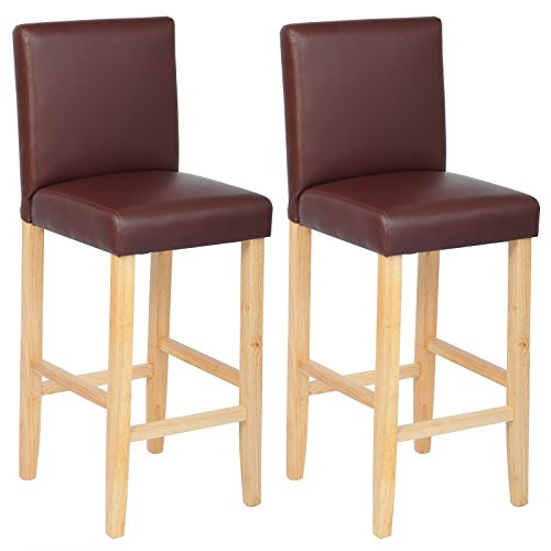 WOLTU #201-2 2 x Barhocker Bistrostuhl Holz Kunstleder Bistrohocker Massivholz dick gepolsterte Sitzfläche 5 Farben