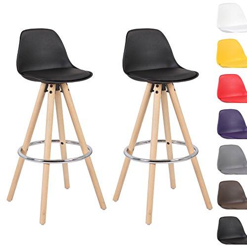 WOLTU® #510 2 x Barhocker 2er Set Barstuhl aus Kunststoff Holz mit Lehne Design Stuhl Küchenstuhl Farbauswahl