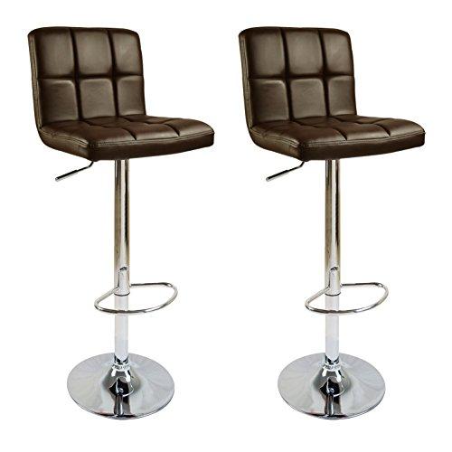 WOLTU #6-a 2 x Barhocker Design Barhocker mit Griff , stufenlose Höhenverstellung , verchromter Stahl , Antirutschgummi , pflegeleichter Kunstleder / Leinen, gut gepolsterte Sitzfläche , 12 Farben