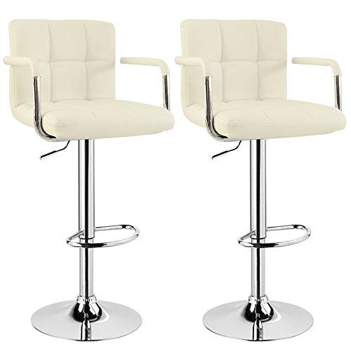 WOLTU BH16 Serie Design Barhocker mit Armlehne , 2er Set , stufenlose Höhenverstellung , verchromter Stahl , Antirutschgummi , pflegeleichter Kunstleder , gut gepolsterte Sitzfläche