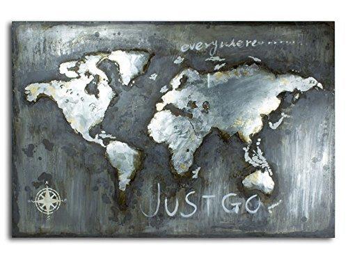 Wandbild Weltkarte Relief Metallbild 3D Massiv Metall Handarbeit World 120x80cm