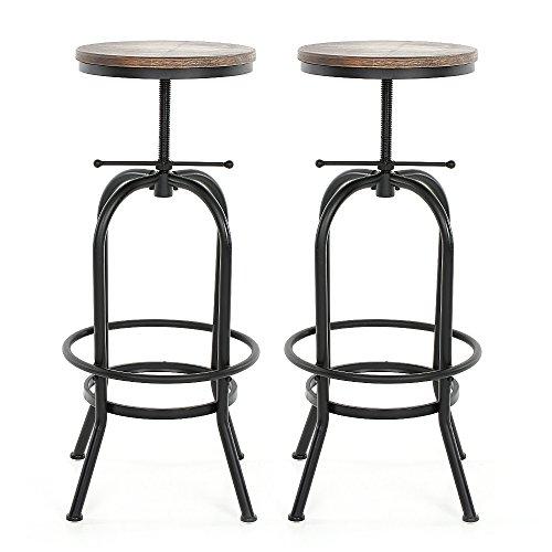 iKayaa 2x Barhocker Tresenhocker Barstuhl Industriedesign Höhenverstellbar Vintage