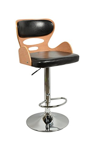 ts-ideen 1 x Barhocker Retro Design Chill Lounge Barsessel Stuhl Holz Glanz Schwarz