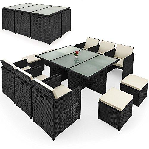 Deuba® Poly Rattan Sitzgruppe 10+1 ✓Cube Design ✓7cm dicke Auflagen creme ✓klappbare Rückenlehne ✓platzsparend - 27tlg. Sitzgarnitur Gartengarnitur Rattanmöbel Cube
