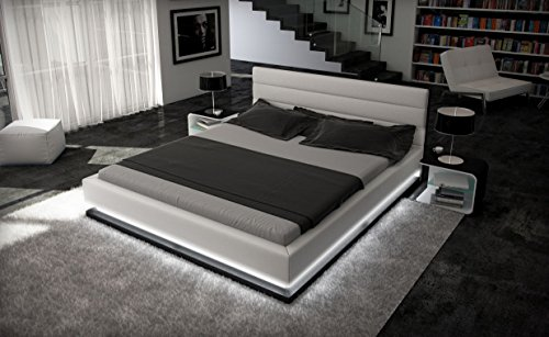 Doppelbett/Kunstlederbett RIPANI 180x200 cm weiss/schwarz