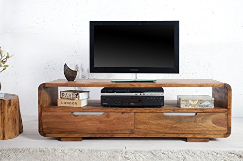 DuNord Design Sideboard PANAJI TV-Board Lowboard 130 cm Sheesham Massivholz natur TV Möbel