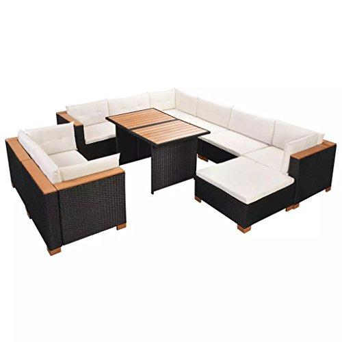 festnight polyrattan lounge set loungem bel loungeset loungegruppe 32 tlg schwarz m bel24. Black Bedroom Furniture Sets. Home Design Ideas