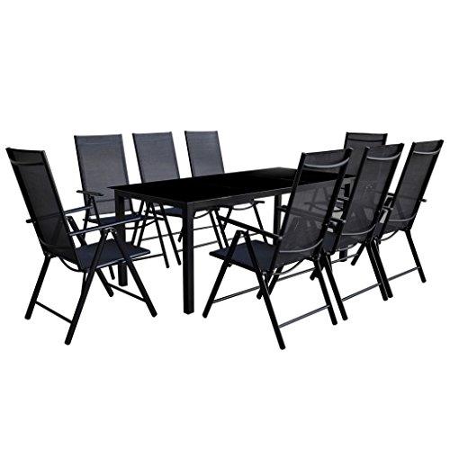 Festnight Sitzgruppe Essgruppe Sitzgarnitur Gartengarnitur 9-tlg. Aluminium Schwarz