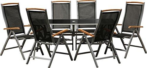 """IB-Style - Gartengarnitur """"BOLOGNA""""   6 Variationen   Alu silbermatt/ Textilen schwarz / Teak   2 Tischgrössen   Klappstühle Gartenmöbel Tisch"""