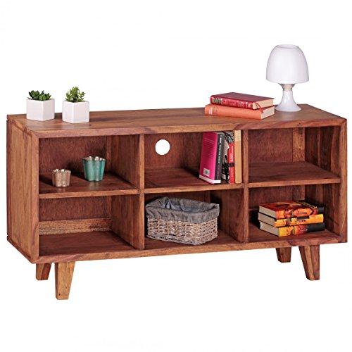 Lowboard Massivholz Sheesham Kommode 118cm TV-Board 6 Fächer Landhaus-Stil dunkel-braun Unterschrank TV-Möbel