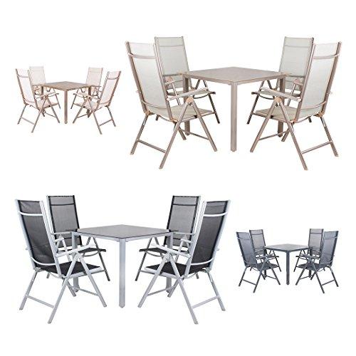 Miweba Moreno 4+1 Aluminium Sitzgarnitur 90x90 Alu Gartenmöbel 4 Stühle Sitzgruppe Tisch Gartenset Gartengarnitur in verschiedenen Farben und Ausführungen