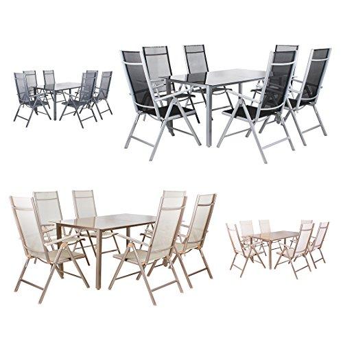 Miweba Moreno 6+1 Aluminium Sitzgarnitur 150x100 Alu Gartenmöbel 6 Stühle Sitzgruppe Tisch Gartenset Gartengarnitur in verschiedenen Farben und Ausführungen