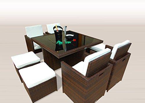 PolyRattan -- DEUTSCHE MARKE -- EIGNENE PRODUKTION -- 8 Jahre GARANTIE auf UV-Beständigkeit Gartenmöbel Essgruppe Tisch + 4 Stuhl & 4 Hocker 12 Polster Braun