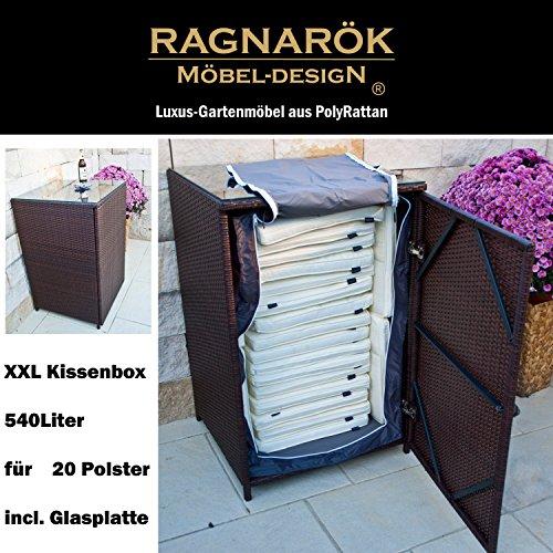 PolyRattan Kissenbox DEUTSCHE MARKE - EIGENE PRODUKTION - 8 Jahre GARANTIE mit Glasplatte für 20 Kissen Ragnarök-Möbeldesign Bi-Color BRAUN Gartenmöbel Aluminium Rattan Beistelltisch Stehtisch