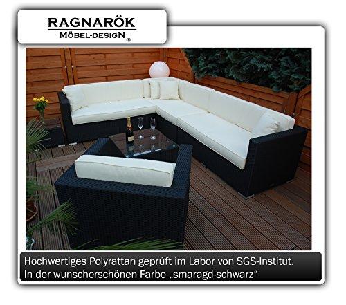 PolyRattan Lounge - DEUTSCHE MARKE - 8 Jahre GARANTIE auf UV-Beständigkeit - EIGENE PRODUKTION - Garten Möbel incl. Glas und Polster Ragnarök-Möbeldesign schwarz Gartenmöbel