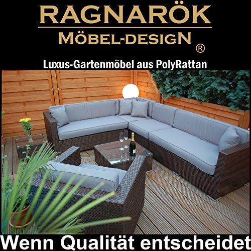 PolyRattan Lounge DEUTSCHE MARKE - EIGNENE PRODUKTION - 8 Jahre GARANTIE auf UV-Beständigkeit - Garten Möbel Glas Polster Ragnarök-Möbeldesign braun Gartenmöbel Aluminium Sofa Sessel grau