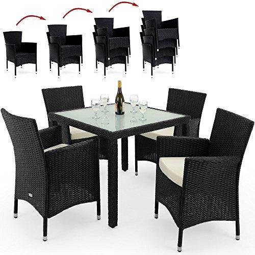 PolyRattan Sitzgruppe Gartenmöbel Lounge Sitzgarnitur Essgruppe stapelbare Stühle wetterfestes Polyrattan 7cm Sitzauflagen MODELLAUSWAHL