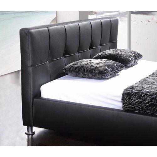 SAM® Polsterbett 200x200 cm Zarah, schwarz, pflegeleichtes Design-Bett mit Kunstlederbezug, abgestepptes Kopfteil