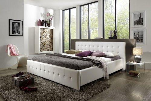 SAM® Polsterbett Bett Rimini in weiß 140 x 200 cm Silber Farben Füße abgestepptes modernes Design Wasserbett geeignet