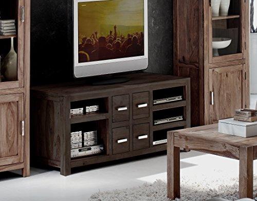 SAM® TV-Schrank Wales 1515 stonefarbenes Sheesham Palisanderholz Massivholz handgearbeitet TV Schrank 150 cm breit mit vier Schubladen, fünf Ablagefächern, geölte Oberfläche